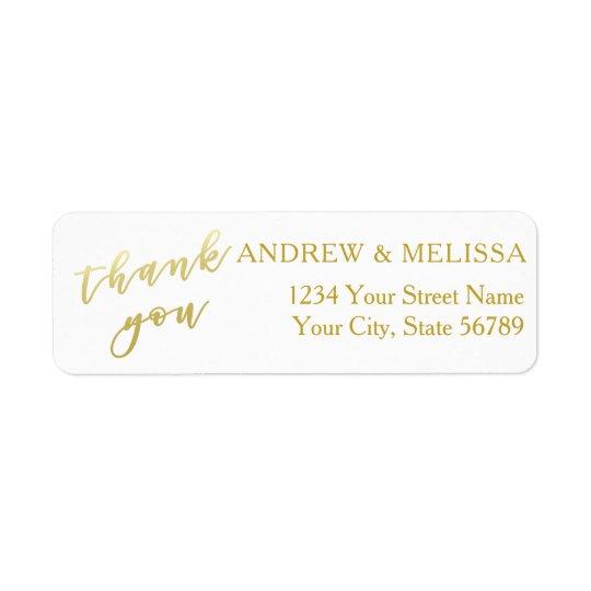 Thank you | Faux Gold Script Wedding Label Return Address Label