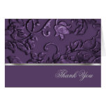 Thank You Faux Metallic Embossed Damask in Plum Greeting Cards