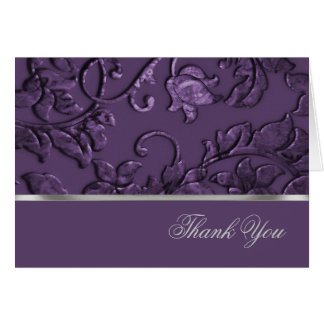 Thank You Faux Metallic Embossed Damask in Plum Card