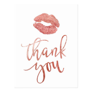 thank you faux rose gold lips postcard