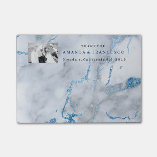 Thank You Favor Mint Navy Gray Marble Post-it Notes