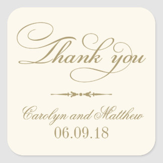 Thank You Favor Sticker | Ivory and Antique Gold