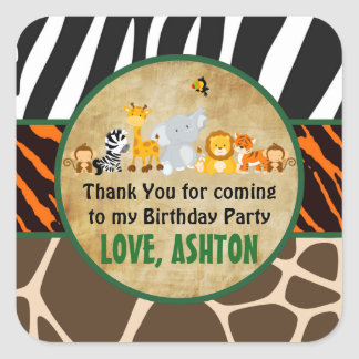 Thank You Favor Tag Jungle Safari Birthday Party