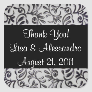 Thank You Favour Tags Name and Date Square Sticker