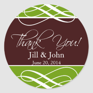 Thank You Favour Wedding Stickers Brown Green