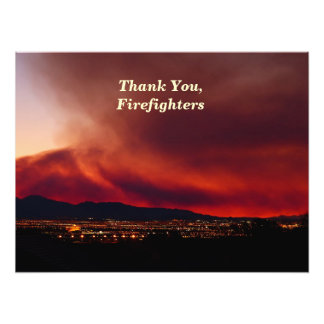 "Thank You, Firefighters, Sky on Fire Poster 24x18"" Photograph"
