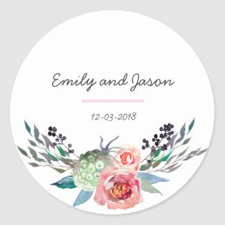 Thank you floral bouquet wedding sticker
