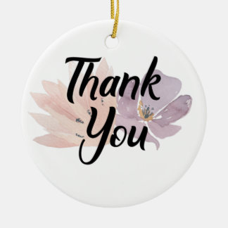 Thank You Floral Design Ceramic Ornament