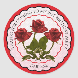 Thank You:  Floral Photography Red Roses Round Sticker