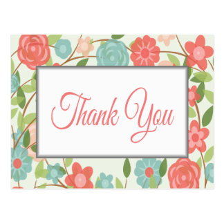 Thank You Floral Pink, Red & Blue Flower Post Card