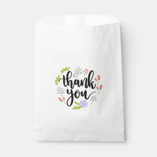 Thank You Floral Purple & Pink Flowers Wedding Favour Bag