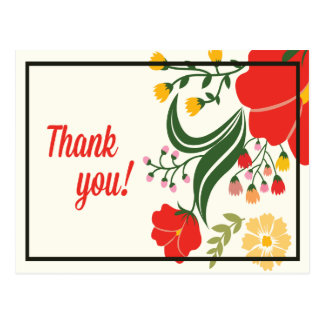 Thank You Floral Red, Green Flower Postcard Postcard