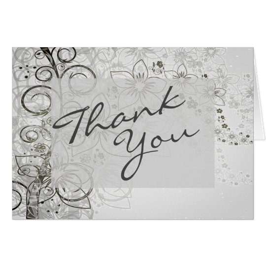 Thank You Floral Scroll Grey Custom Note Card