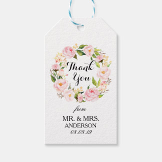 """""""Thank You"""" Floral Wreath Wedding Favor3 Gift Tags"""
