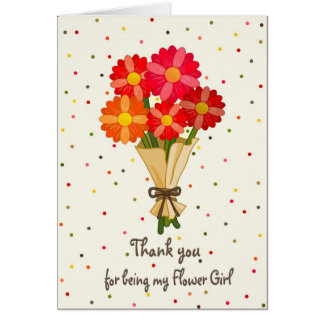 Thank You Flower Girl Bouquet of Flowers Card