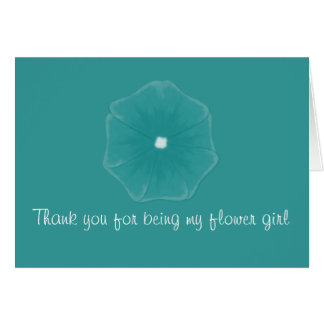 """Thank You...Flower Girl"" - Dark Turquoise Pansy Card"