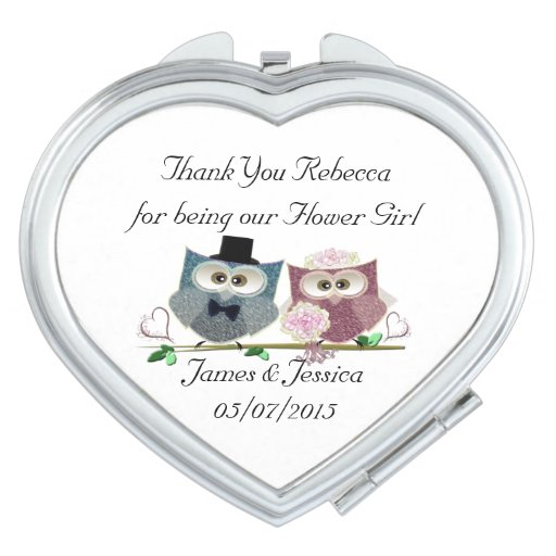 Thank you Flower Girl Heart Compact Mirror