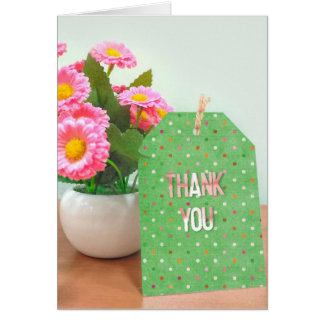 thank you-flower pot with polka dot tag card