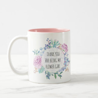 thank you for being my flower girl floral mug