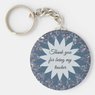 Thank You for being My Teacher Mosaic Blue Tile Key Ring