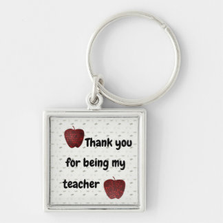 Thank You For Being My Teacher Mosaic Red Apples Key Ring