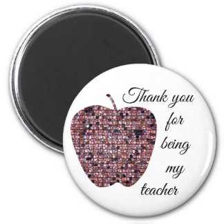 Thank You For Being My Teacher Red Mosaic Appple Magnet