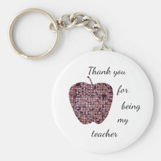 Thank You For Being My Teacher Stained Glass Apple Key Ring