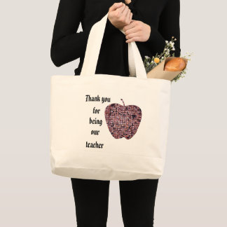 Thank You for being Our Teacher Red Mosaic Apple Large Tote Bag