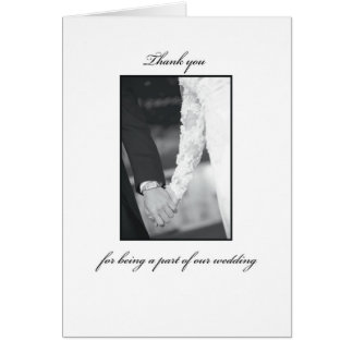 Thank You for Being Part of Wedding, Black, White Greeting Card