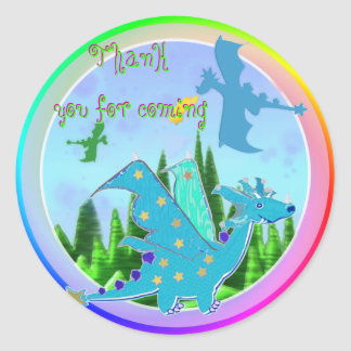 Thank You for Coming Blue Dragon Rainbow Colors Classic Round Sticker