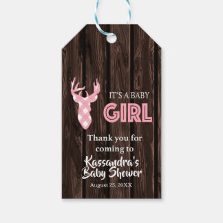 Thank You For Coming Pink Deer Baby Shower Tag