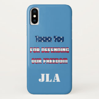 Thank You For Defending Our Freedom Monogram iPhone X Case
