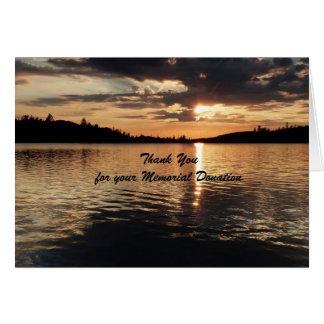Thank You For Donation Note Card, Sunset on Lake