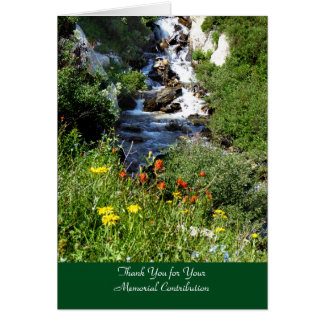 Thank You for Donation, Waterfall with Wildflowers Card