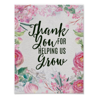 Thank you for helping us grow teacher gift poster