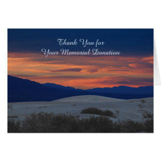 Thank You for Memorial Donation, Sunset at Dunes Greeting Cards