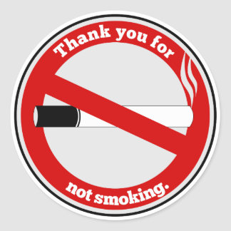 Thank you for not smoking classic round sticker