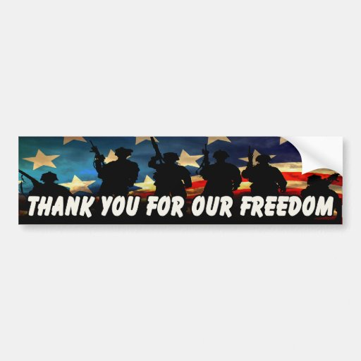 Thank You For Our Freedom 2 Car Bumper Sticker