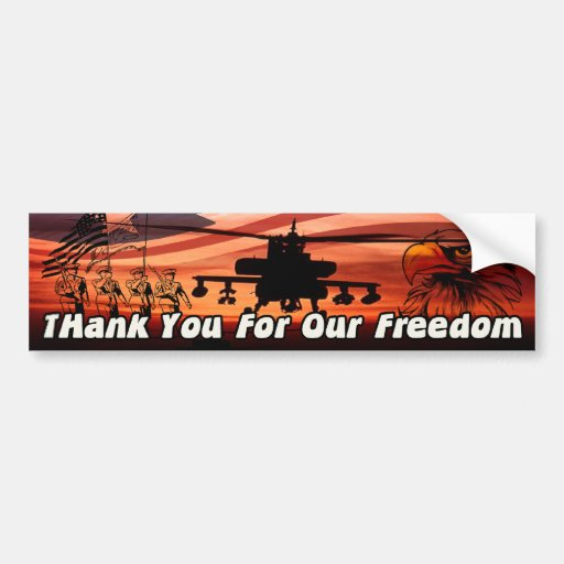 Thank You For Our Freedom! Car Bumper Sticker