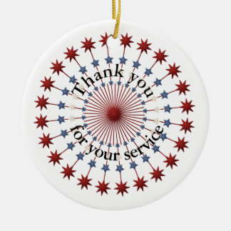 Thank You for Service, Red White and Blue Stars Ceramic Ornament