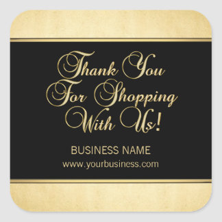 Thank You For Shopping With Us Business Gold Black Square Sticker