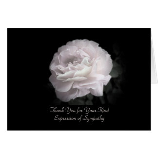 Thank You for Sympathy, One Pale Pink Rose Stationery Note Card