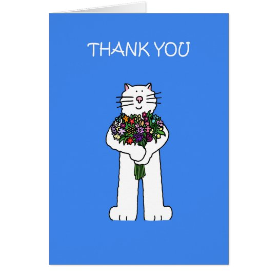 Thank you for the flowers, cute cat. card