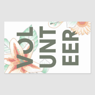 thank you for volunteering flowers rectangular sticker