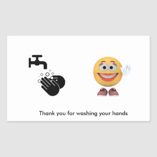 Thank you for washing your hands rectangular sticker
