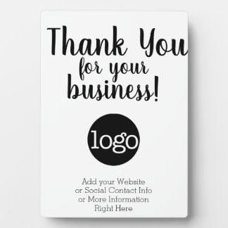 Thank you for your business - add logo and contact plaque