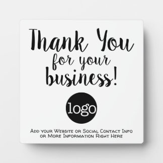 Thank you for your business with logo and contact plaque