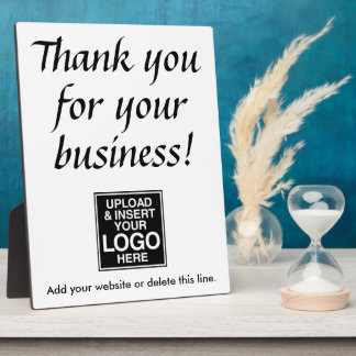 Thank you for your business with logo plaque