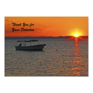 Thank You for Your Donation, Sunset Fishing Boat Card