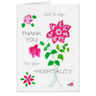 Thank You for Your Hospitality Card